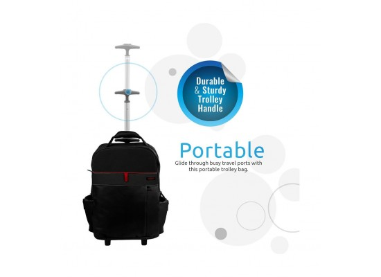 Promate TrolleyPak-1 Multi-purpose Portable Trolley Bag For Laptops Up To 15.6-inch Black