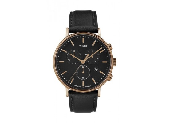 Timex Fairfield Chronograph 41mm Leather Strap Watch - TW2T11600 a