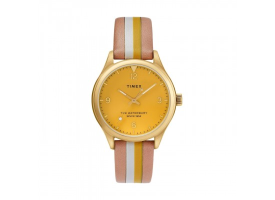 Timex Waterbury 34mm Analog Ladies Leather Watch (TW2T26600)