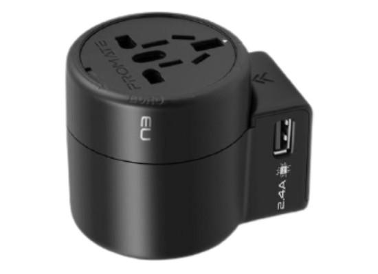 Promate Twist 2-USB AC Travel Adapter - Black
