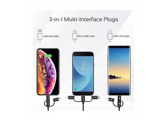 Promate UniLink-Trio2 3-in-1 Smart USB Cable - Silver