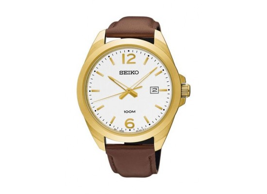 Seiko UR216P Gents Quartz Analog Watch - Leather Strap – Brown