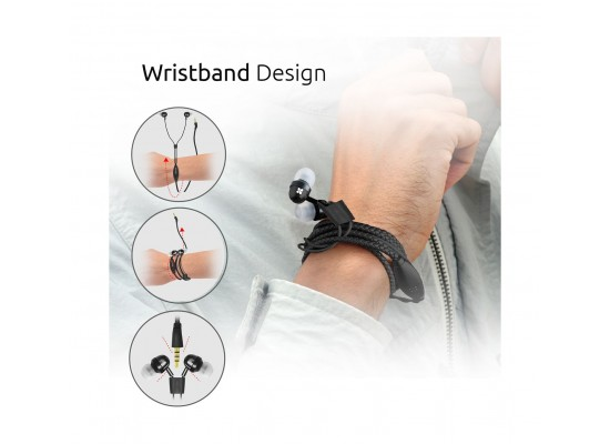 Promate Vogue Wearable Wristband Style Leather Stereo Earphone - Black