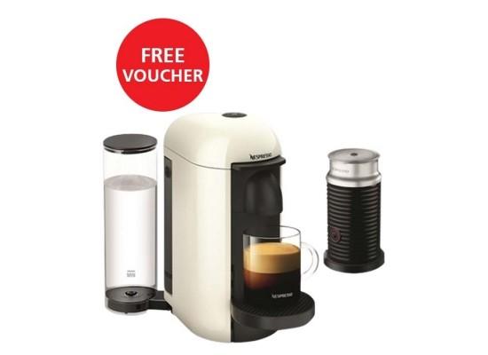 Nespresso VertuoLine Coffee & Espresso Maker with Aeroccino Plus Milk Frother - White + Free Voucher