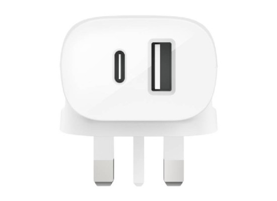 Belkin 20W USB-C PD + 12W USB-A Wall Charger - White