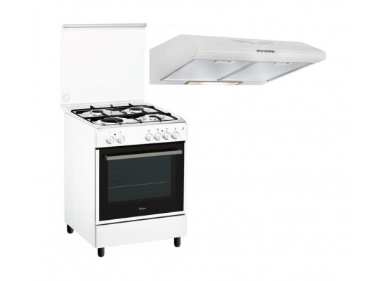 Whirlpool 60x60cm 4 Burners Floor Standing Gas Cooker + Wansa 60cm Built Under Cooker Hood