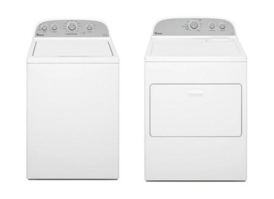 Whirlpool Atlantis 15kg 6th Sense Top Loading Washing Machine + Whirlpool 15kg Air Vented Dryer