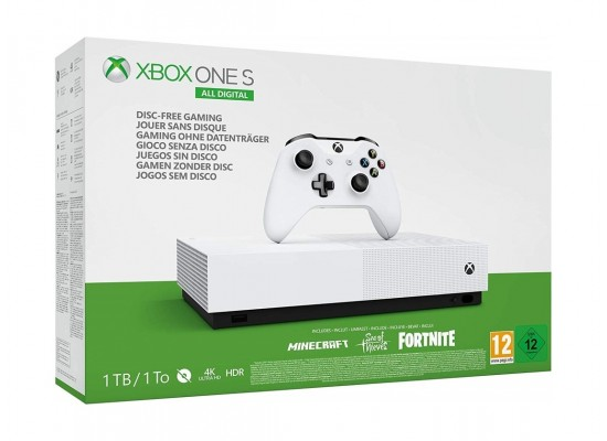 Xbox One S 1TB Minecraft, Sea of Thieves and Fortnite +  DCL Pack