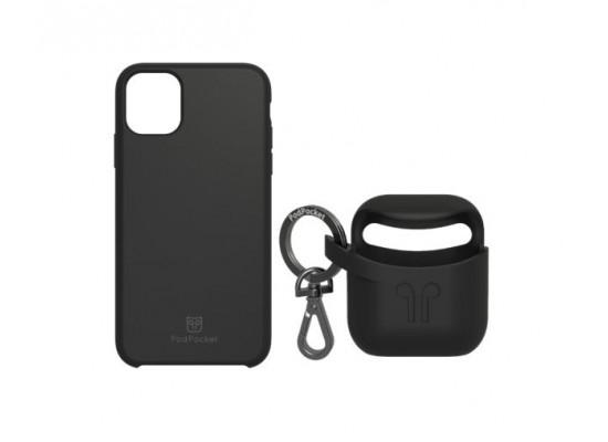 PodPocket iPhone 11 Pro Max Case + AirPod Case - Midnight Black
