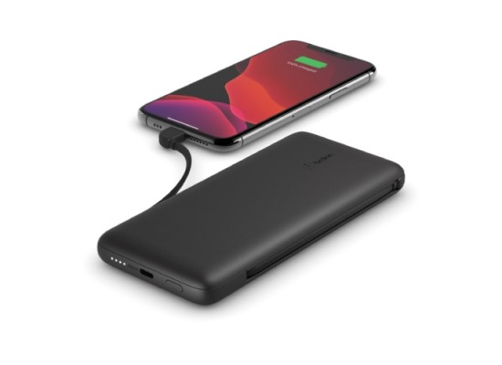 Belkin 10000mAh Power Bank with Integrated USB-C + Lightning Cables - Black