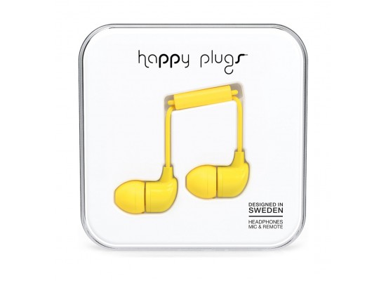 Happy Plugs In-The-Ear Wired Headphones With Mic & Remote – Yellow