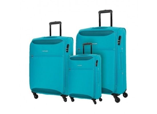 Kamiliant Zaka 3 Sets Soft Luggage (55+69+80cm) - Aqua Blue
