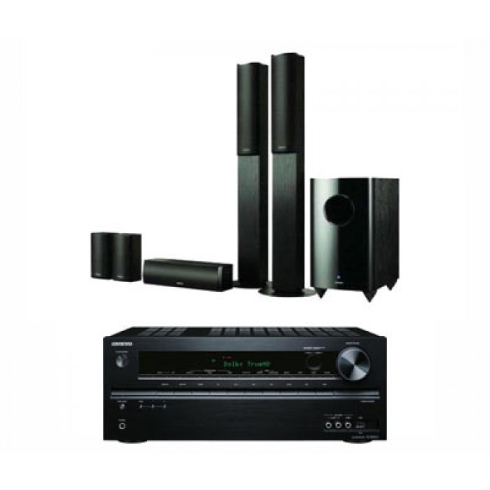 Onkyo 5 1 Speaker System + Onkyo TX-NR414(B) 5 1 Ch Network HDMI AVR  130W/Channel