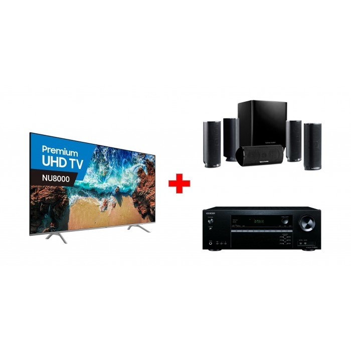 Onkyo 7 2 Channel Wireless Network AV Receiver (TX-NR686) + Samsung 82 inch  4K Ultra HD Smart LED TV - UA82NU8000 + Harman Kardon 5 1 Channel 120W
