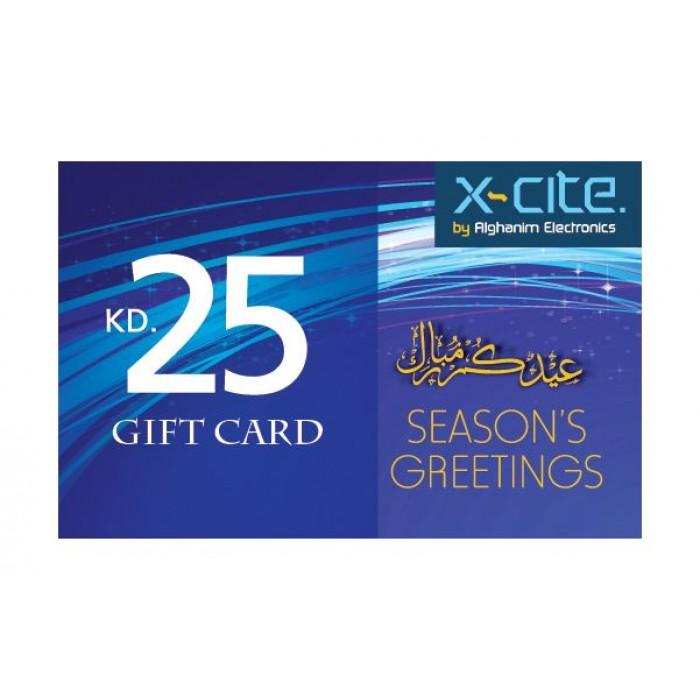 gift card  eid mubarak  kd 25  xcite alghanim