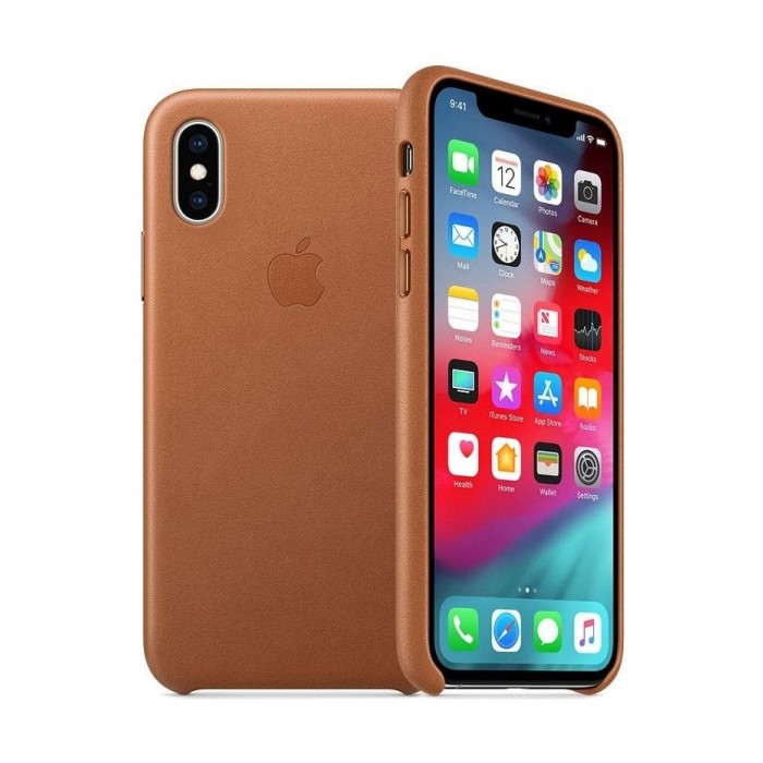 apple leather case for iphone xs - saddle brown