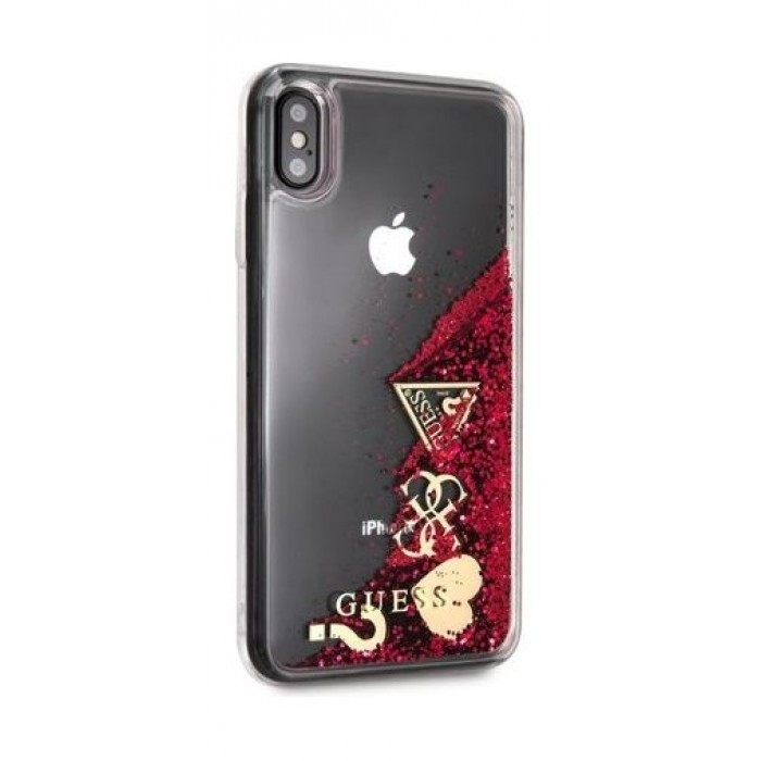 separation shoes 4f94d ae2ff Guess Protective Case For iPhone XS Max - Raspberry Hearts Glitter