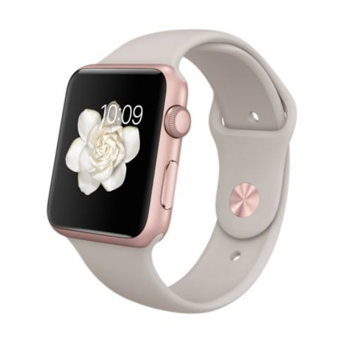 Apple Watch Sport 42mm Rose Gold Aluminum Case With Stone Sport Band Xcite Alghanim Electronics Best Online Shopping Experience In Kuwait