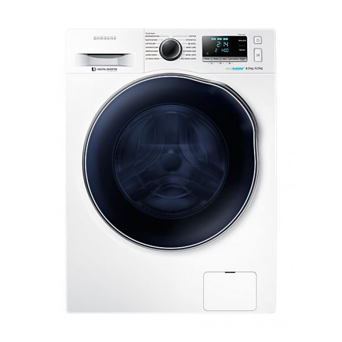 Samsung 8 6 Kg Front Load Washer Dryer With Eco Bubble Wd80j6410aw White