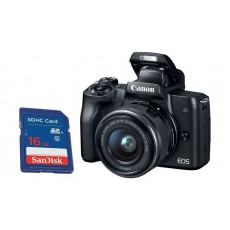Canon EOS M50 Mirrorless Digital Camera With 15-45mm IS STM Lens + Sandisk 16GB SHDC SD Memory Card