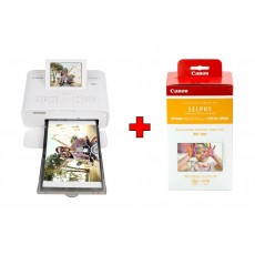 Canon SELPHY CP1300 Compact Photo Printer - White + Canon RP-108 High Capacity Color Ink/Paper Set