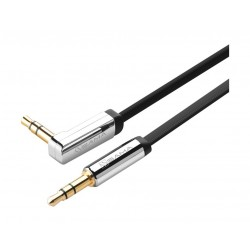Sama 3.5mm AUX Flat Gold Plated Cable Right Hand AUX (SA-10599) - Black