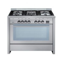 Glem Gas 5 Burners Free Standing Gas Cooker - Silver HT967GI/FS/MF