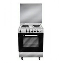 Glem Gas 4 Electric Plates Free Standing Electric Cooker - Silver AL669EI