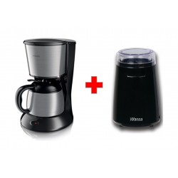 Wansa Manual Coffee Grinder135 Watts (CG9101) - Black + Philips Coffee Maker - HD7478/20