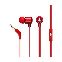 Wicked Panic Flat Cord In-Ear Wired Earphones with Mic - Burn Red