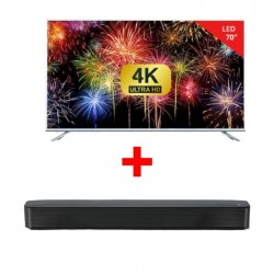 Wansa 70-inch Ultra HD Smart LED TV + LG SK1 2.0 Channel Bluetooth Compact Sound Bar - Black
