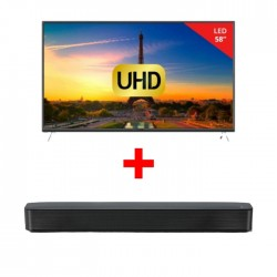 Wansa 58-inch Ultra HD Smart LED TV + LG SK1 2.0 Channel Bluetooth Compact Sound Bar - Black