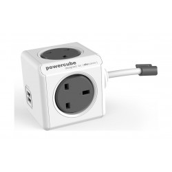 Allocacoc PowerCube Dual USB Port with 1.5 Meters Extended Cord (7400) - Grey