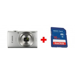 Canon IXUS 185 Digital Camera, 20MP 2.7-inch LCD Display - Silver + Sandisk 16GB SHDC SD Memory Card