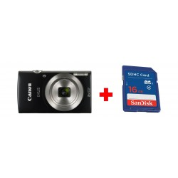 Canon IXUS 185 Digital Camera, 20MP 2.7-inch LCD Display – Black + Sandisk 16GB SHDC SD Memory Card