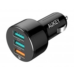 Aukey CCT11-BK 3 Port USB Car Charger - Right View - 1