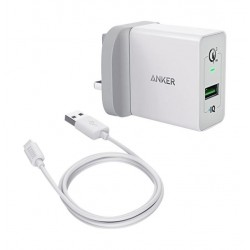 Anker PowerPort+ 1 With Quick Charge 3.0 Wall Charger With Micro-USB (B2013K21) - White