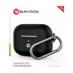 Baykron Airpods Pro Silicone Case with Carabiner - Black