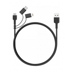 AUKEY 3 in 1 MFi Lightning Sync & Charge Cable 1.2m Black