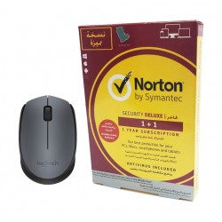 Symantec Norton Security Deluxe 3.0 Arabic 1 User 1 Device 1 Year + Logitech M171 Wireless Mouse