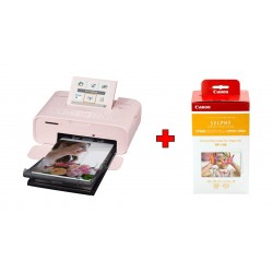 Canon SELPHY CP1300 Compact Photo Printer - Pink + Canon RP-108 High Capacity Color Ink/Paper Set