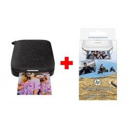 HP Zink Sticky-backed Paper 50 sheets (1RF43A) - White + Luna Sprocket 2nd Edition Photo Printer - Black