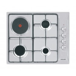 Performance and features 60 cm gas hob 3 gas burners + 1 hot plate Total power: 7.250 W One-hand electronic ignition Flame failure device (FFD)