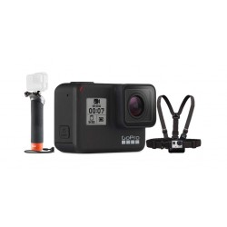 GoPro HERO7 Camera + Floating Hand Grip Mount + Chest Harness Mount