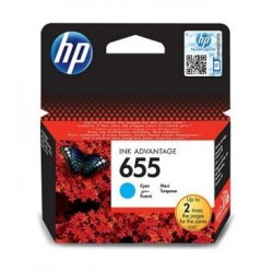 HP Ink 655C for InkJet Printing 600 Page Yield - Cyan (Single Pack)