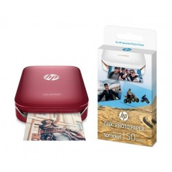 HP Zink Sticky-backed Paper 50 sheets (1RF43A) + HP Sprocket Portable Photo Printer (Z3Z93A) Red