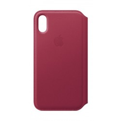 Apple Leather Case For iPhone X (MQRX2ZM/A) - Berry
