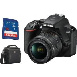 Nikon D3500 DSLR Camera With 18-55mm Lens + SanDisk Flash 16GB SDHC Memory Card + Camera Bag