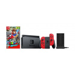 Nintendo Switch Console + Super Mario Odyssey + HORI Nintendo Switch Joy-Con Charge Stand