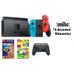 Nintendo Switch (Colored Joy-Con) Portable Gaming System with 2 Toys + Controller + Just Dance 2017 Game + Puyo Puyo Tetris